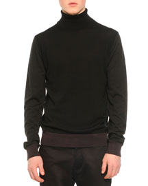 Tricolor Turtleneck Sweater, Black