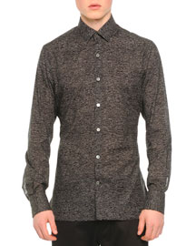 Maze-Print Woven Shirt, Black/White