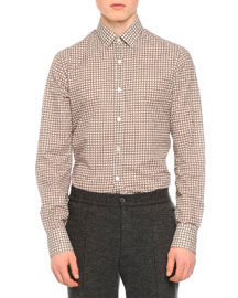 Knot-Print Woven Shirt, White/Red