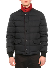 Quilted Contrast-Collar Short Parka