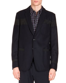 Moire Striped Two-Button Jacket