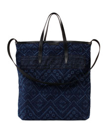 Zigzag-Print Denim Shopper Tote Bag, Indigo