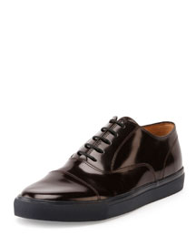 Polished Leather Cap-Toe Sneaker, Dark Red