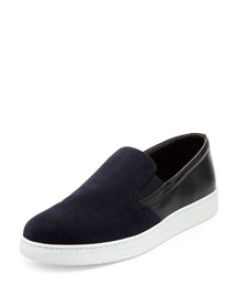 Suede & Leather Skate Sneaker, Navy