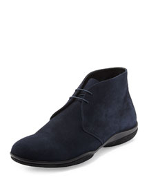 Suede Lace-Up Chukka Boot, Navy
