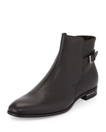 Saffiano Leather Short Boot, Black