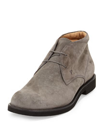 Suede Lace-Up Chukka Boot, Gray