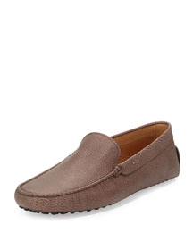 Pebbled Leather Venetian Driver, Light Brown