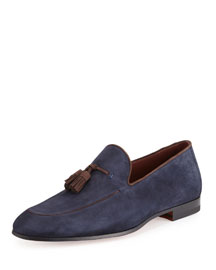 Suede Tassel Slip-On Loafer, Navy