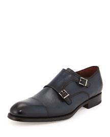 Pinked Leather Double-Monk Loafer, Navy