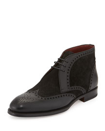 Textured Suede & Leather Wing-Tip Oxford Boot, Black