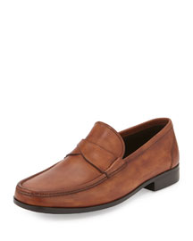 Burnished Leather Cross-Penny Loafer, Medium Brown