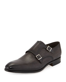 Leather Double-Monk Loafer, Gray