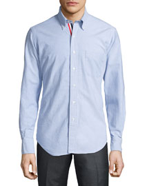 Long-Sleeve Cotton Oxford Shirt, Blue