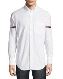 Striped Armband Oxford Shirt, White