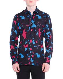 Floral-Print Woven Shirt, Black
