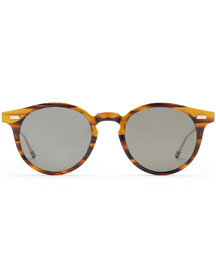 Round Walnut Acetate Sunglasses