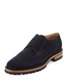 Suede Blucher Shoe, Navy