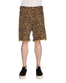 Leopard-Print Cutoff Shorts