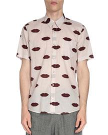 Short-Sleeve Lip-Print Shirt