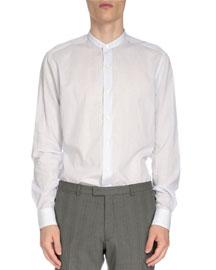 Striped Band-Collar Button-Down Shirt