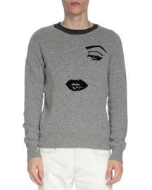 Knit Face Crewneck Sweater, Gray