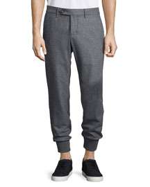 Flannel Wool Cuffed Pants, Charcoal