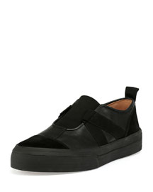Mixed-Media Leather Slip-On Sneaker, Black