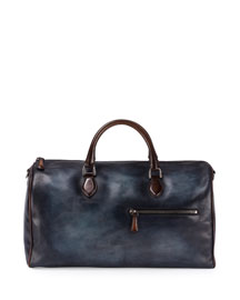 Small Leather Duffle Bag, Indigo Denim