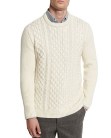 Cable-Knit Wool Crewneck Sweater, White