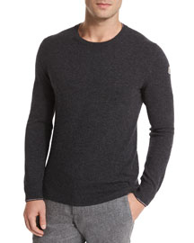 Crewneck Wool Pullover Sweater, Medium Gray