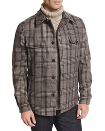 Plaid Wool Shirt Jacket, Tan