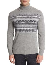 Fair Isle Cashmere Turtleneck Sweater, Multi