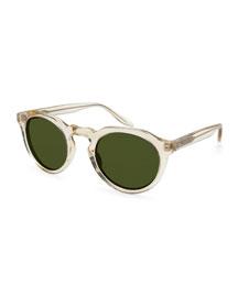 Ascot Translucent Round Sunglasses, Champagne