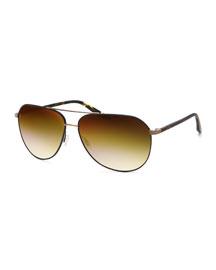 Hawkeye Square Navigator Sunglasses, Champagne