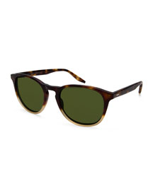 Plimsoul Two-Tone Round Sunglasses, Brown