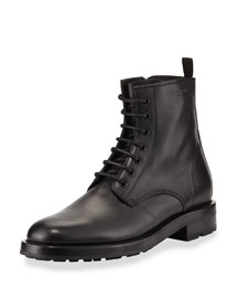 Lace-Up Leather Combat Boot, Black
