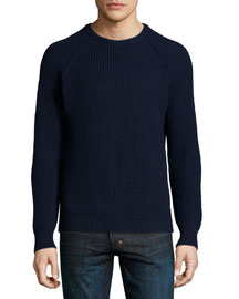 Cashmere Ribbed Crewneck Sweater, Navy