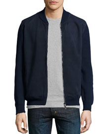 Suede & Wool Bomber Jacket, Navy