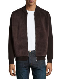 Suede & Wool Bomber Jacket, Dark Brown