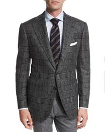 Plaid Cashmere Two-Button Jacket, Olive