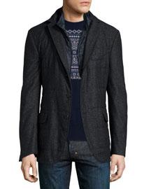 Donegal Sport Coat w/Vest Liner, Charcoal