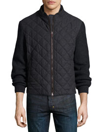 Cashmere Quilted Bomber Jacket, Charcoal