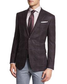 Dotted Silk Jacquard Tie, Burgundy