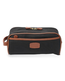 Leather-Trimmed Canvas Travel Bag, Black