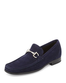Magnifico Suede Gancini Loafer with Rubber Sole, Navy