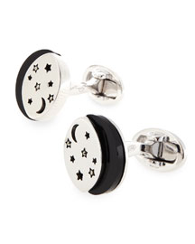 Starry Night Sterling Silver & Onyx Cuff Links, 0.9