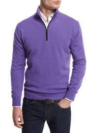 12GG Cashmere Half-Zip Sweater, Purple