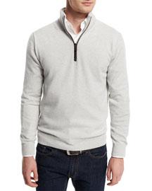 12GG Cashmere Half-Zip Sweater, Light Gray