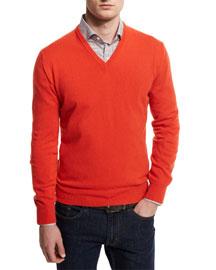 12GG Cashmere V-Neck Sweater, Orange